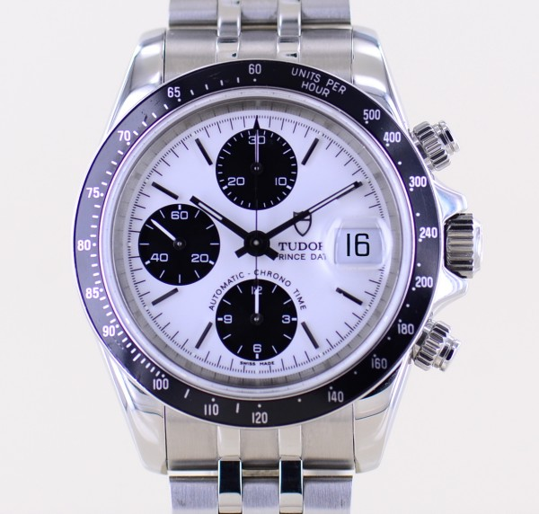 Prince Date Chronograph White Panda Stick Dial Stahlband 79260P Automatic