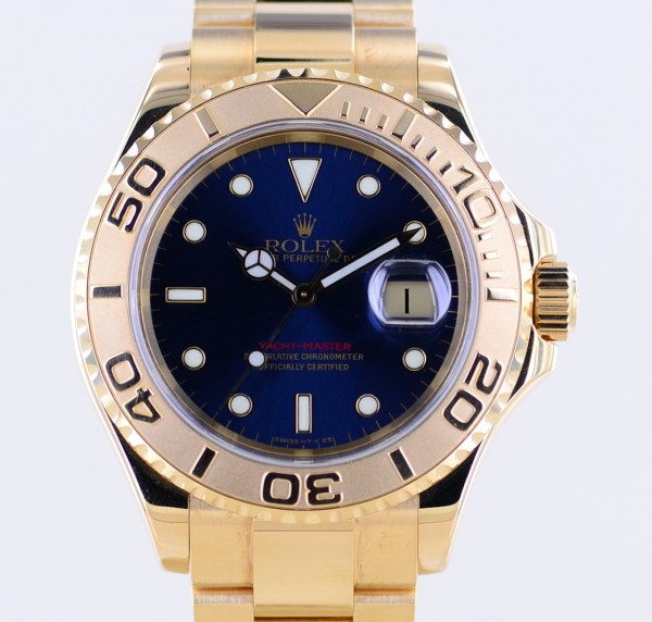 Yachtmaster 18K Gold Blue Dial perfect Herrenuhr 40 mm LC100 B+P A-Serie