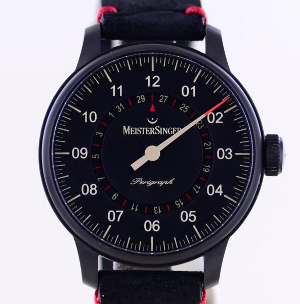 Perigraph Black Line Stahl 43mm black dial Einzeiger Datum Glasboden