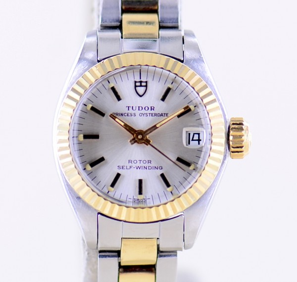 Princess Oysterdate Lady Stahl Gold Oysterband Automatik Silver Dial Rolex Case