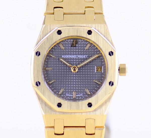 Royal Oak Lady 18K Gold Date Top Luxus Klassiker Grey Dial Quartz 25mm rar