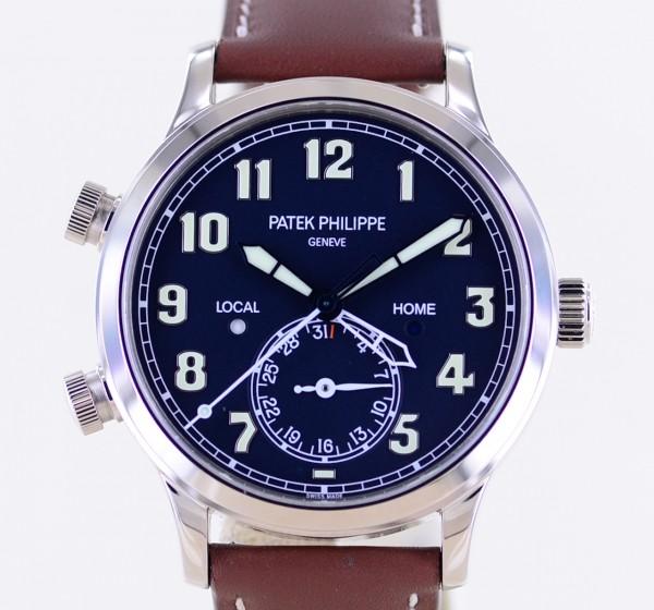 Patek Philippe Calatrava Pilot Travel Time 18K Weißgold Kal 324 Deep Blue Luxusuhr