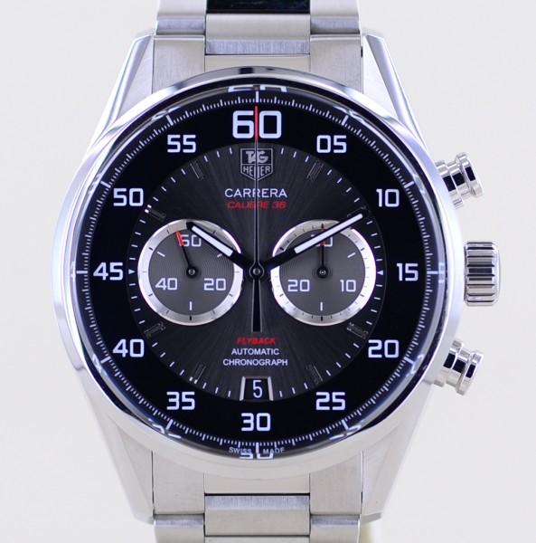 Carrera Chronograph Flyback black Calibre 36 El Primero Steel Glasboden B+P