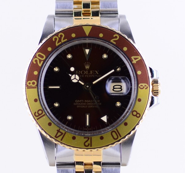 GMT Master II 16753 Tigerauge Jubilé brown Niple Dial 1985 B+P Top