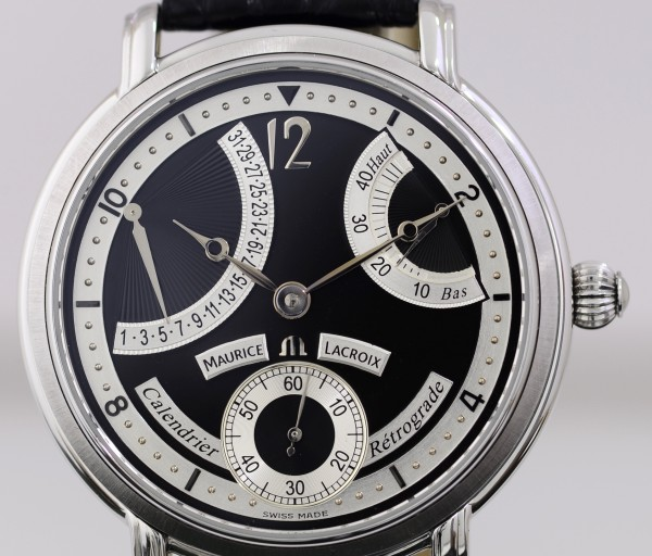 Maurice Lacroix Masterpiece Calendrier Retrograde Power Reserve B+P black Dial 43mm