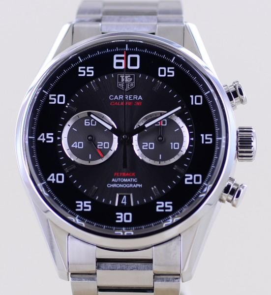 Carrera Chronograph Flyback black Calibre 36 El Primero Steel Glasboden