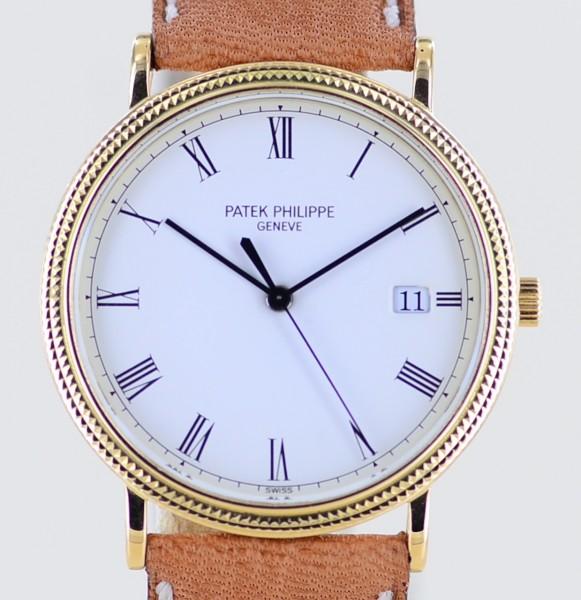 Calatrava 18K Gelbgold Cal E23SC Dresswatch 3944 White Roman Full-Set rar 1988
