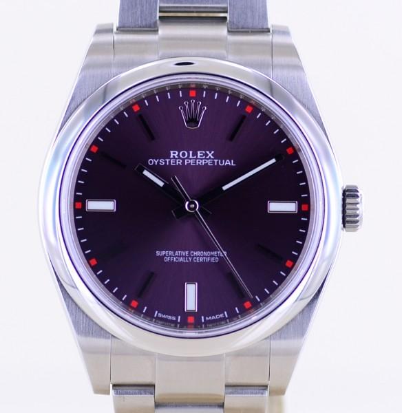 Oyster Perpetual red grape Dial Rehaut violett 39mm 114300 B+P