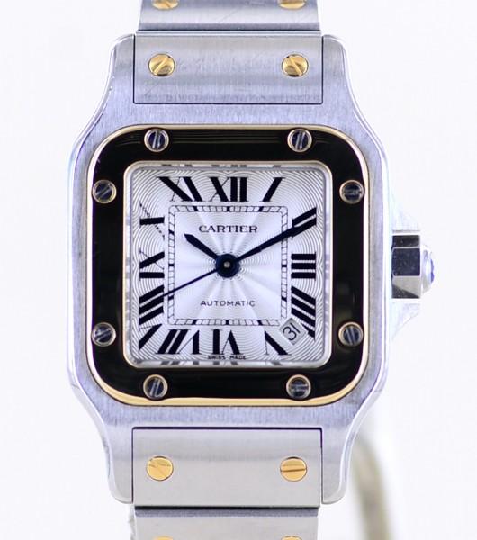 Santos De Cartier Galbée Stahl / Gold silver dial Klassik Automatik Lady