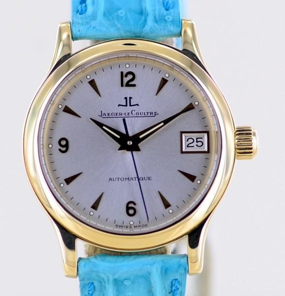 Master Control Date 18K Gelbgold Dresswatch 28mm Lady Lederband Automatik rar