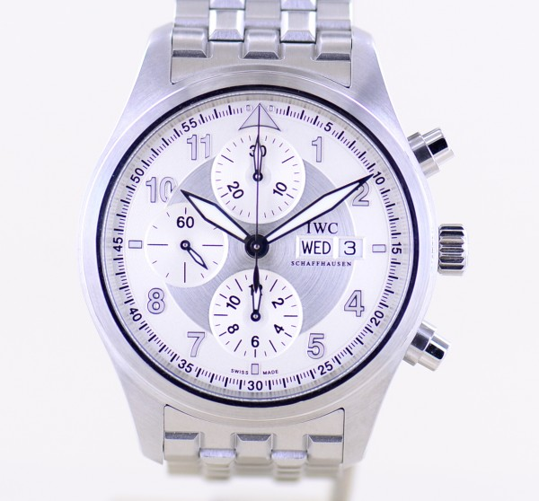 Spitfire Chronograph Pilots Automatic Stahlband silver B+P Topzustand
