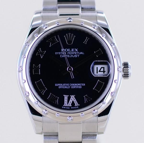 Datejust 31mm Oysterband 178344 black Diamond Dial white gold bezel LC100 B+P