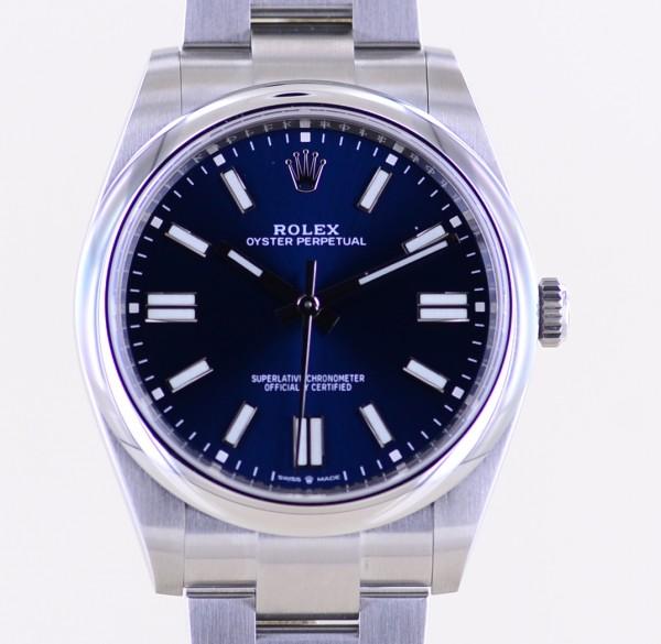 Oyster Perpetual blue Dial Rehaut 2020 blau 41mm 124300 ungetragen B+P