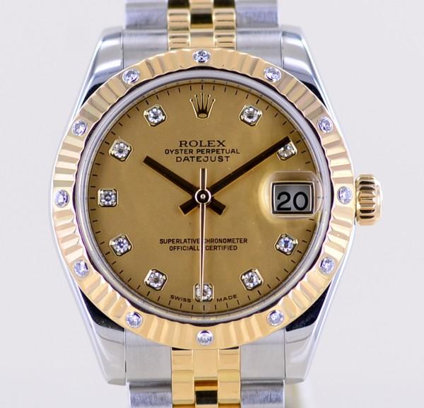 Medium Datejust Stahl Gold MOP Diamond dial Jubiléband 31mm Lady B+P rar