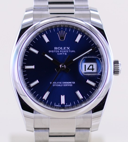 Date blue 34mm Stick Dial Oysterband Steel 115200 Automatic B+P 2021