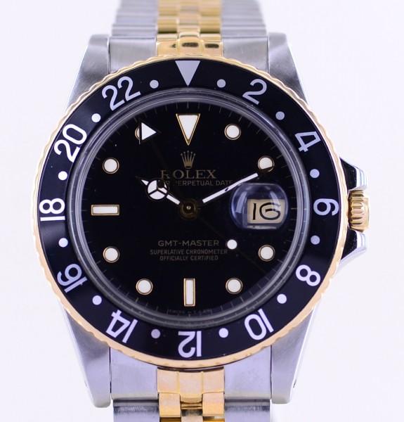GMT Master 16753 Jubilé black Dial Tritium 1986 Klassiker Stahl Gold
