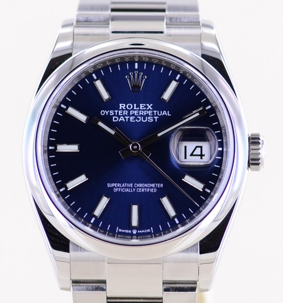 Datejust 126200 blue Stick dial Oysterband Stahl 2019 LC100 36mm Klassiker