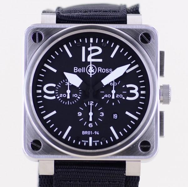 BR01 Chronograph Automatic 46mm black Dial Date Steel Klassiker Fliegeruhr B+P