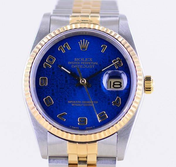 Datejust Saphirglas blue arabic Dial Jubiléband Stahl Gold 16233 L-Serie 1988