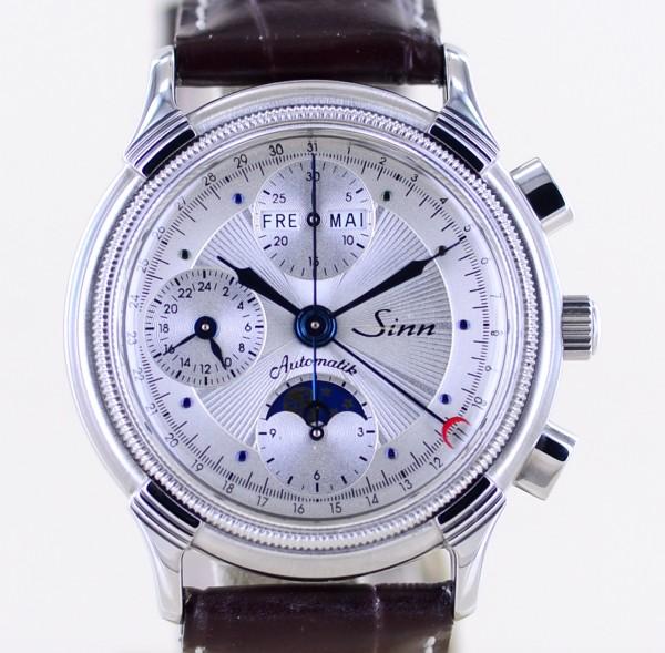 Sinn 6016ST Chronograph Silver Dial Mondphase Calendar Steel Top