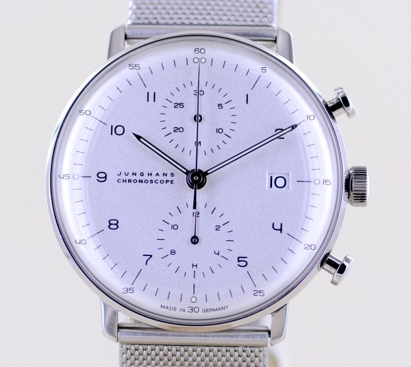 Max Bill Chronoscope Dresswatch Klassiker Chronograph white Dial Milanaise