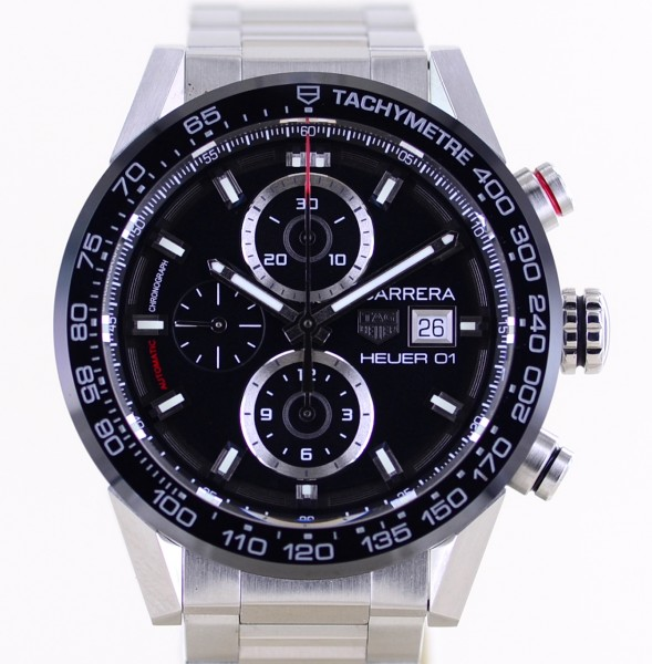 Carrera Date Chronograph Heuer 01 Black Ceramic 43mm Automatic B+P
