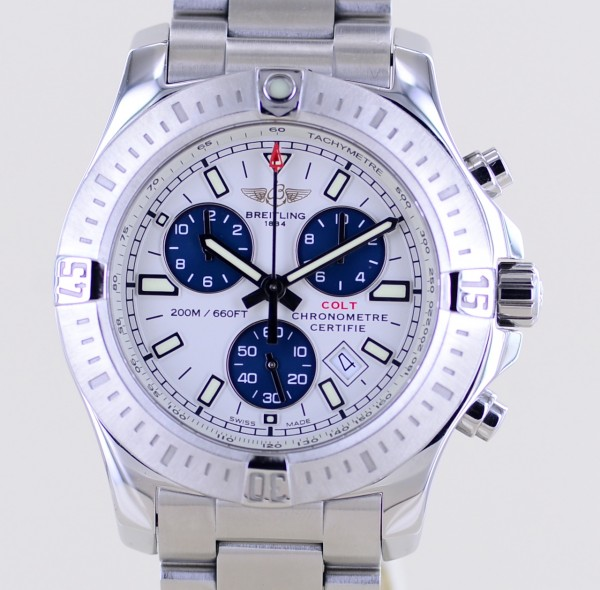 Colt Chronograph 44mm Stahlband blue white dial Date Cal73 Professional B+P