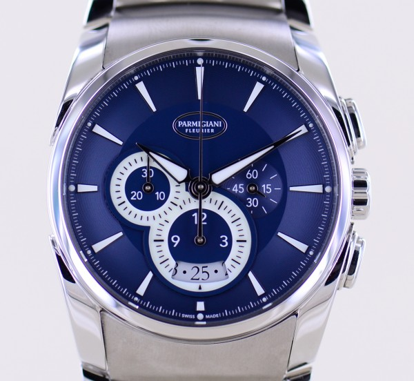 Parmigiani Fleurier Tonda Chronograph blue black Dial Stahlband + Leather Full-Set