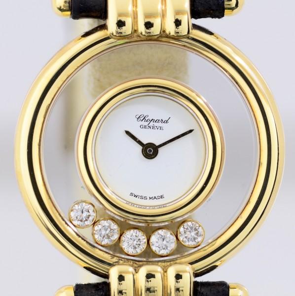 Chopard Happy Diamonds 0.28 ct Klassiker 18K Gelbgold Lady Quarz Luxus B+P