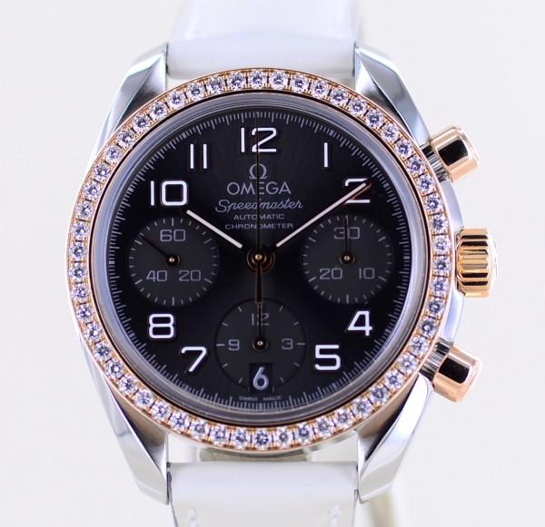 Speedmaster Chronograph 38mm Diamond Stahl Roségold grey dial B+P Luxus