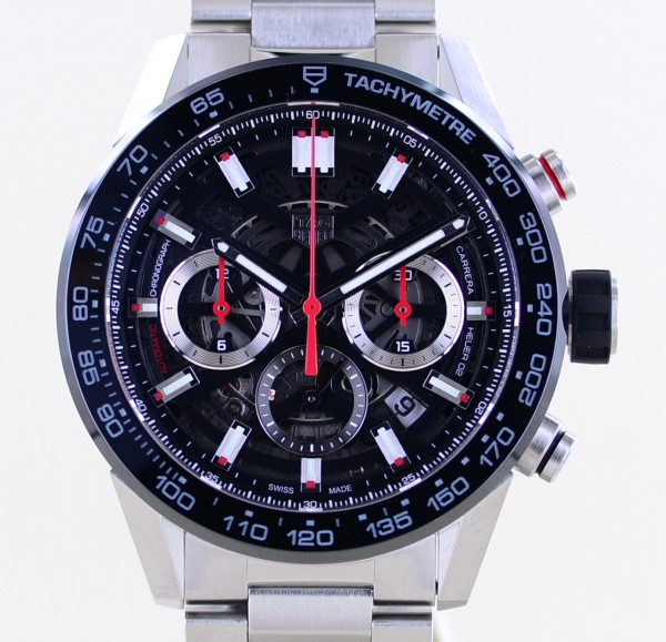Carrera Date Chronograph Heuer 02 Black Ceramic 45mm Skeleton Automatic B+P