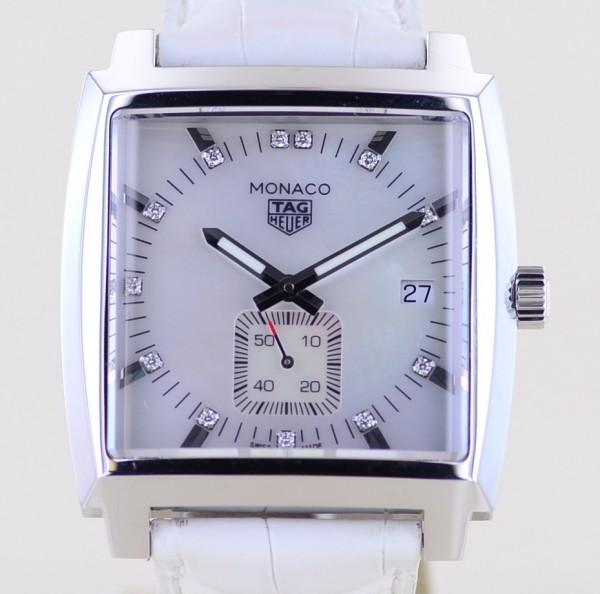 Monaco Lady Quartz MOP Dial Diamonds 37mm Steel Luxusuhr 2021 B+P