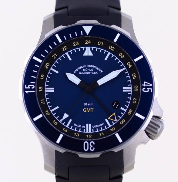 Seebatallion GMT Diver Titan Kautschuk Automatic blue 45mm B+P Top