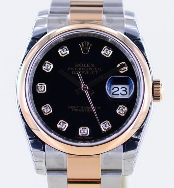 Datejust 116201 black Diamond dial Oysterband Stahl Roségold 2020 verklebt