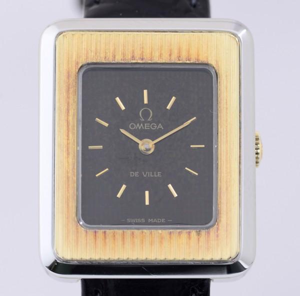 Omega De Ville Edelstahl vergoldete Lünette black dial Klassik Lady Vintage