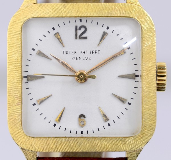 Patek Philippe 18K Gold Square white dial Vintage very rar Dresswatch Cal 27SC